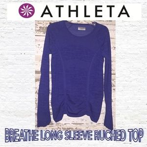 Athleta Breathe Long Sleeve Athletic Ruched Top